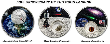 3 Moon landing coins