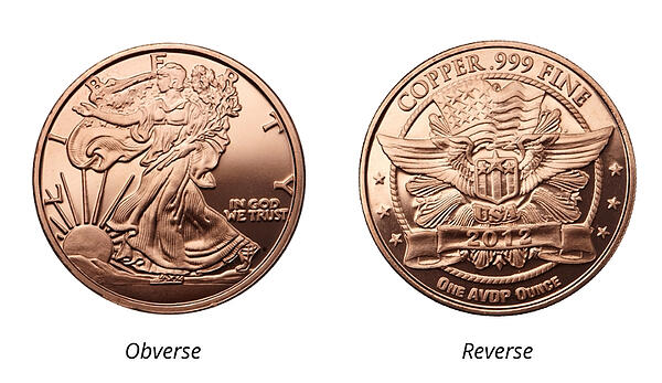 Walking Liberty Wings blank copper round