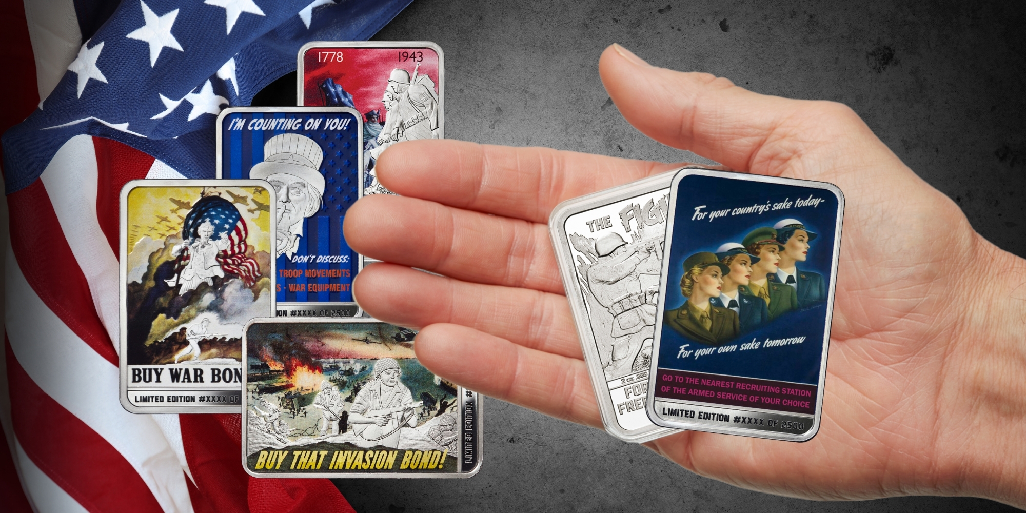 Fight for Freedom's Sake Collection - 2-ounce solid silver bars