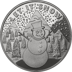 Let it Snow Snowman Solid Silver Round